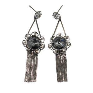 Noble pendant black tassel crystal earrings